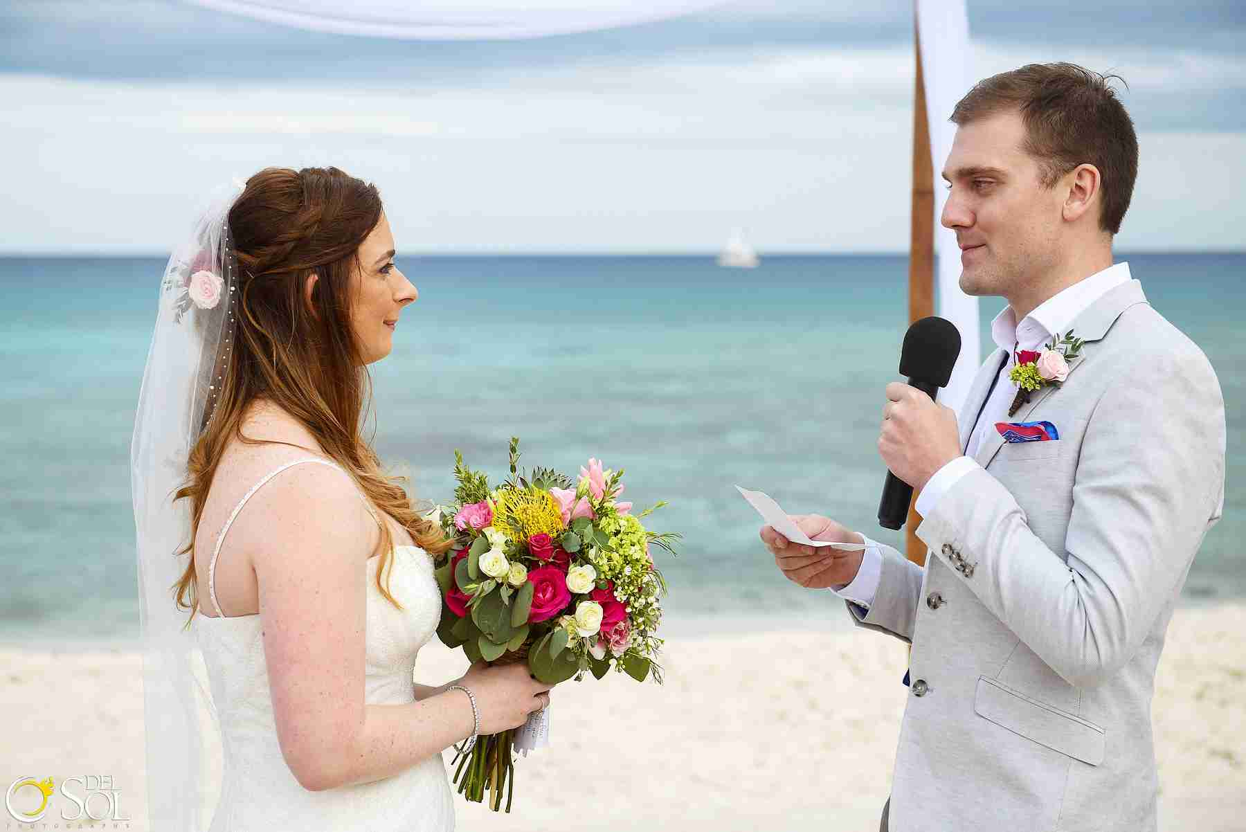 Brooke and Stephen , Beach Wedding at Blue Venado Beach Club, Playa del Carmen, Mexico. Photos bt Del Sol Photography.